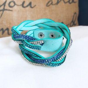 🎀 NEW • Teal Vegan Leather Crystal Wrap Bracelet